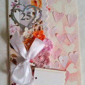 kartka na 25 rocznice ślubu serca i kwiaty