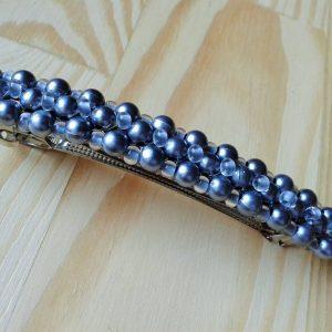 srebrna spinka do włosów z koralików