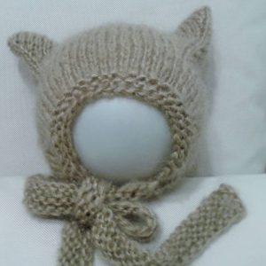 czapeczka czepek kotek bury z uszkami