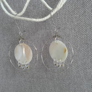 kolczyki wiszące koła z masy perłowej