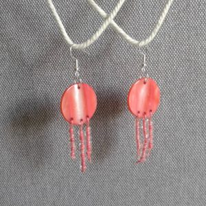 kolczyki rózowe z masy perłowej