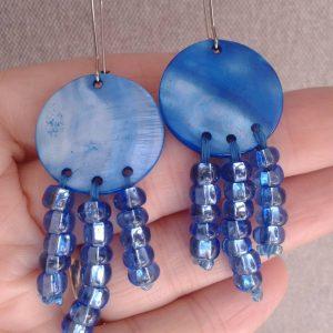 kolczyki niebieskie z masy perłowej