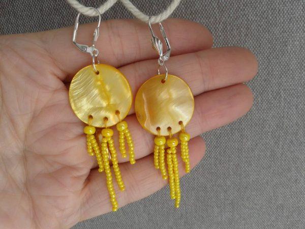 kolczyki żółte z masy perłowej