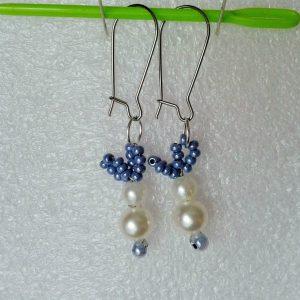 kolczyki wiszące zajączki perłowe