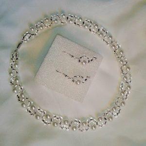 komplet biżuterii z perełek i szklanych koralików naszyjnik i kolczyki