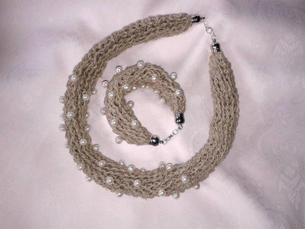 komplet lnianej biżuterii naszyjnik i bransoletka