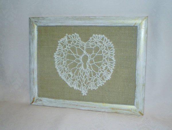 serce szydełkowane - obrazek na ścianę