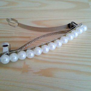 spinka do włosów z białych perełek