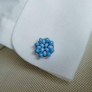 niebieskie spinki do mankietów
