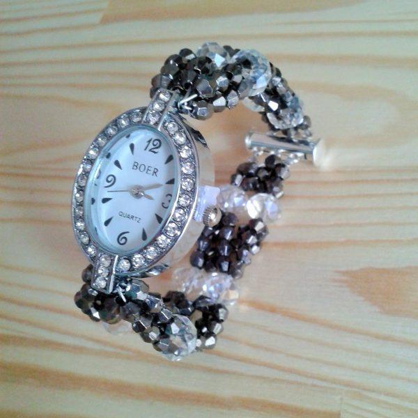 zegarek z cyrkoniami i czarno szara bransoletka z koralików