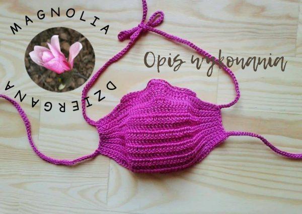 Maska różowa szydełkowa opis wykonania
