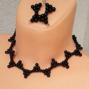 Naszyjnik i kolczyki z perełek - trójkąty