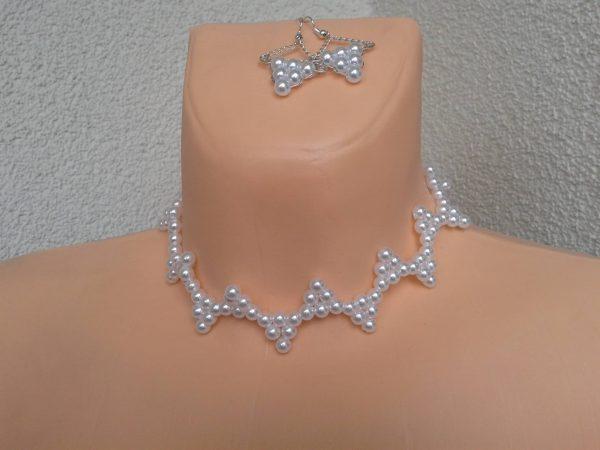 komplet biżuterii z-perelek-trojkaty
