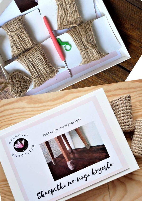 zestaw do dziergania w pudełku sznurki, szydełko, znacznik, opis