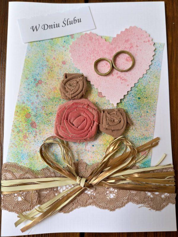 kartka ślubna z różyczkami retro