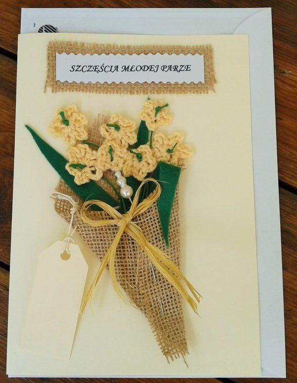 kartka ślubna z bukietem rustykalnym