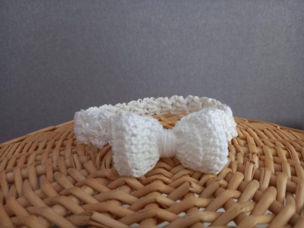 Opaska biały wianek z kokardką