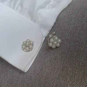 spinki do mankietów białe perłowe