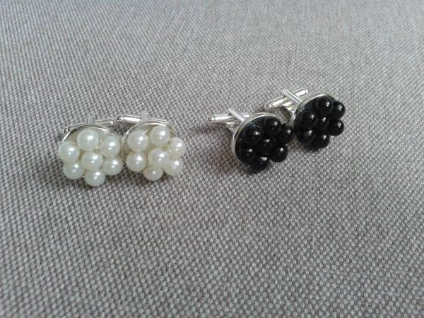 Spinki do mankietów białe czarne perłowe
